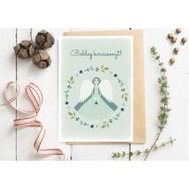 Karácsonyi képeslap-angyal zöld, fehér