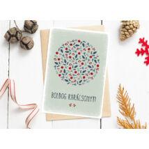 Karácsonyi képeslap-kör, zöld, piros