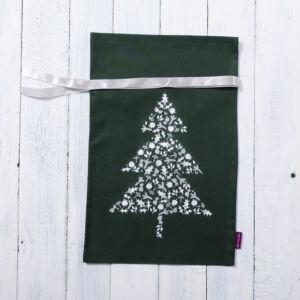 Karácsonyi zsák ajándéknak zöld, kicsi