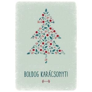 Karácsonyi képeslap - fenyőfa zöld-piros