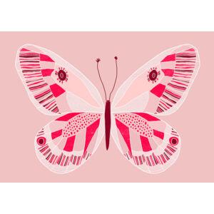 Rózsaszín pillangó keretben