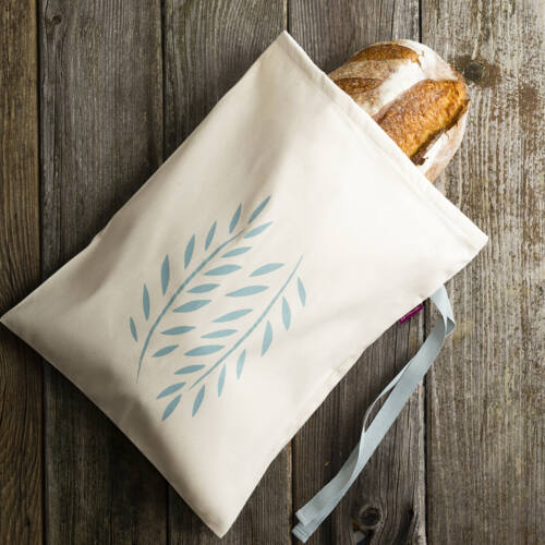pamutvászon kenyérzsák, kék, nagy